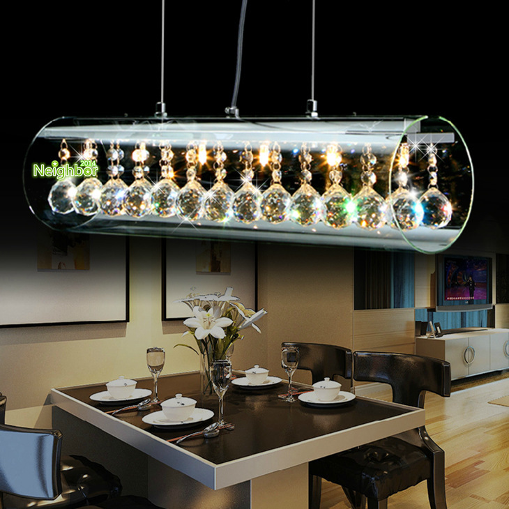 New modern crystal led pendant light for home suspension for Dining room light fixtures modern