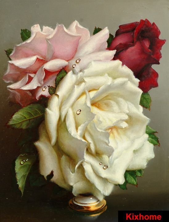 Retail hand painted still life of rose flowers in a copper for How to paint flowers with oil paint
