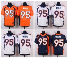 Denver Broncos #95 Derek Wolfe Elite White Navy Blue Alternate and Orange Team Color high-quality free shipping(China (Mainland))