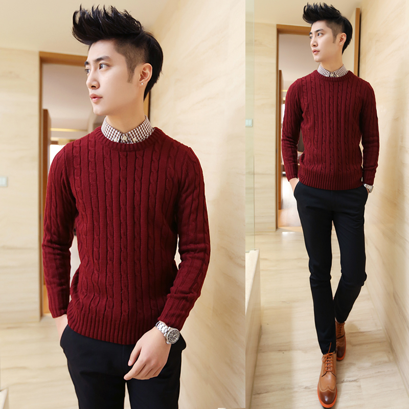 2014 spring men's clothing o-neck casual sweater male slim tidal current knitted - jim yue's store