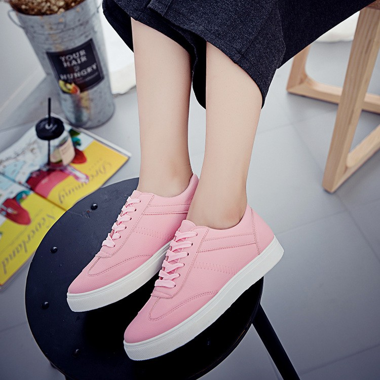 CHJSHO New Korean Women Casual Shoes Lace-up Spring Autumn PU Breathable Shoes Flat Shallow Mouth Students Shoes Woman