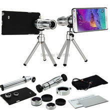9 Piece Camera Photo Kit:12X Tripod Telescope+3 Awesome Lenses+note Cover Case For Samsung Galaxy Note 7/5/4/3/S5 Neo S4 S6 Edge(China (Mainland))