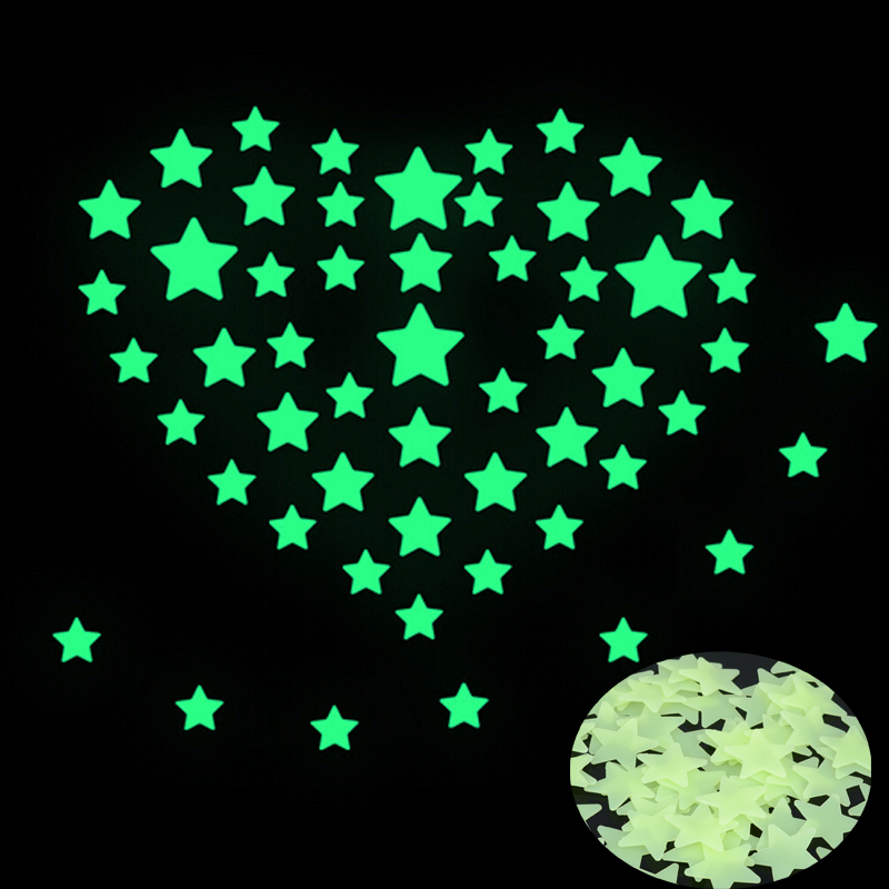 100 pcs pack 3cm glow in the dark stars wall sticker. Black Bedroom Furniture Sets. Home Design Ideas
