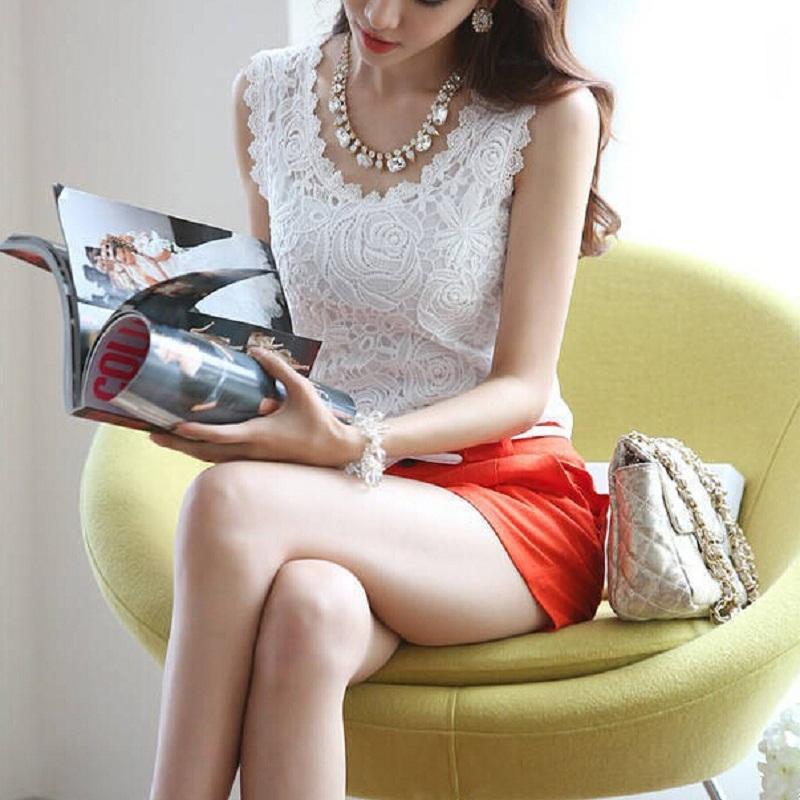 Plus Size S-XXXL Summer Women Blouse Lace Vintage Sleeveless White Black Crochet Casual Shirts Tops(China (Mainland))