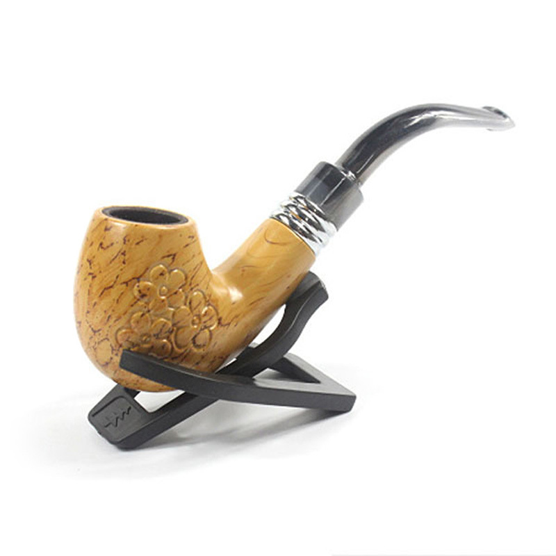 Cigar Filter Tobacco Pipe Classic Wooden Enchase Carved Smoking Cigarette Pipes Plastic Mouthpiece Smoking Pipe For
