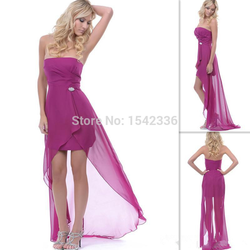 Simple magenta chiffon prom dresses high low strapless for Magenta dress for wedding