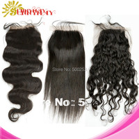 Brazilian Virgin Human Hair  Top Lace Closure Body Wave Straight natural curly In Stock