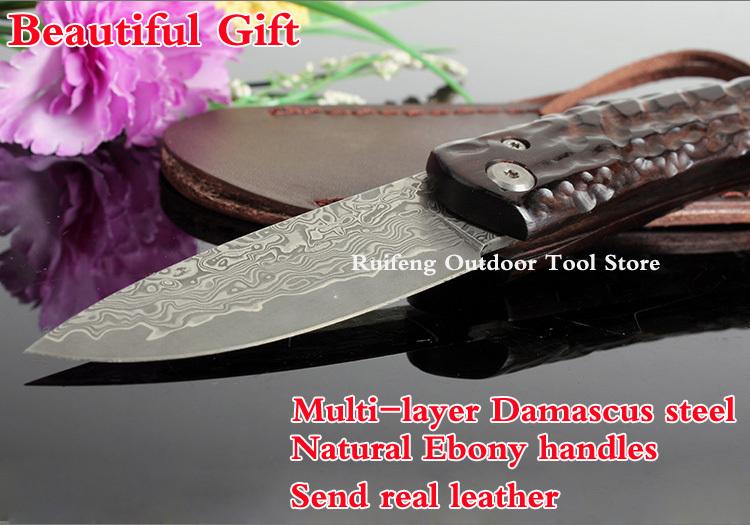 Damascus hunting knife/Damascus VG10 Japanese steel/natural ebony handle/survival canivete tatico tactical knives/faca militar(China (Mainland))