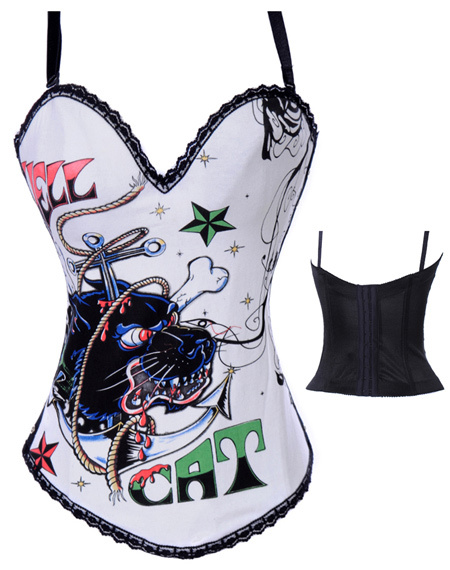 sexy new Hell Cat Graffiti Print Corset, purple, white, gray 3 colors availableОдежда и ак�е��уары<br><br><br>Aliexpress