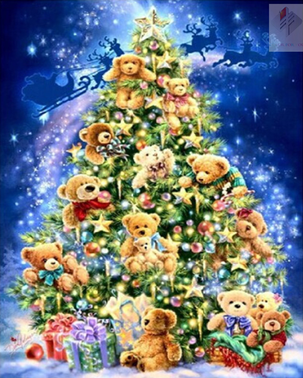 Bear Christmas tree diy diamond painting cross stitch full square drill canvas rhinestone diamond mosaic room decor wall sticker