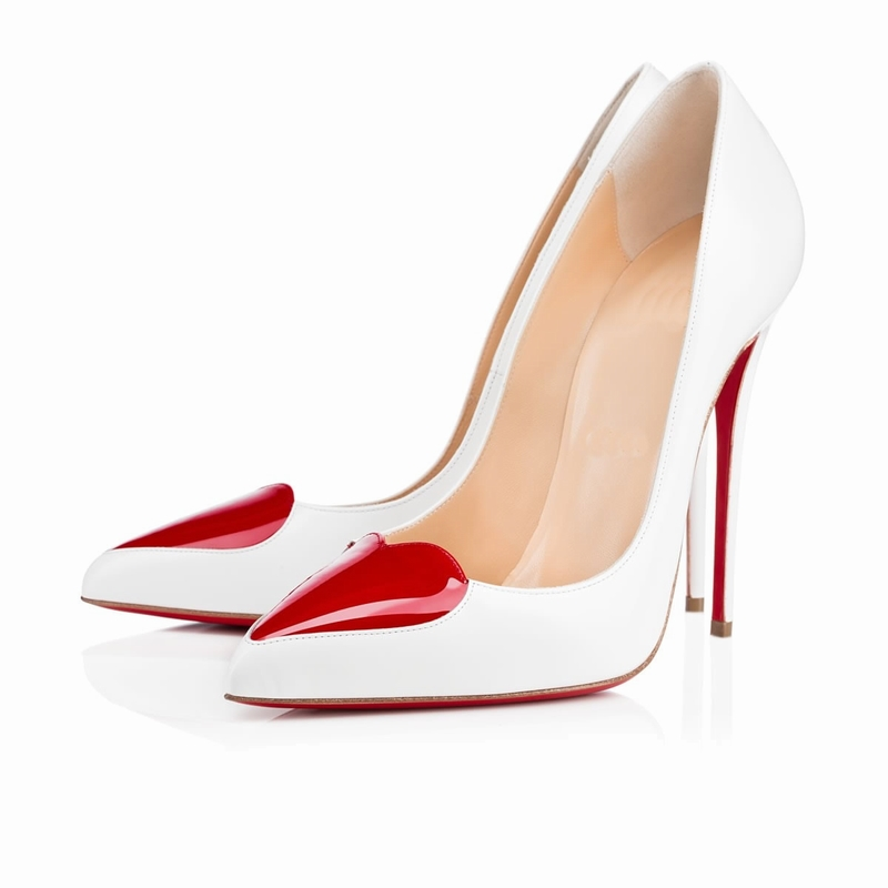 2015 New Women's Red Heart-Shaped Toe Slip On Pumps Female High Heels Evening Party Shoes Woman Patent Leather Pointed Toe Pumps(China (Mainland))