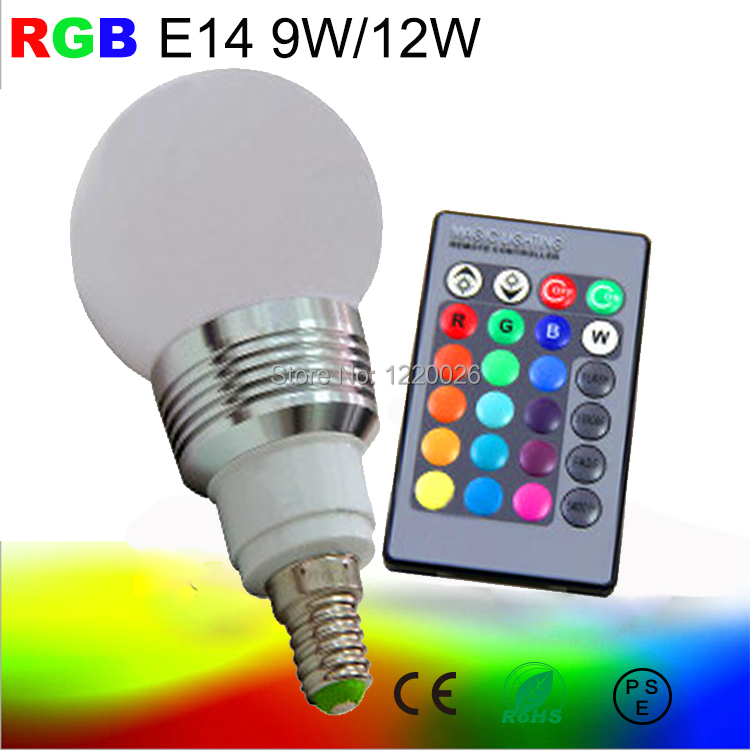 9w 12w lamp rgb led bulb e14 led dimmable light lampara. Black Bedroom Furniture Sets. Home Design Ideas