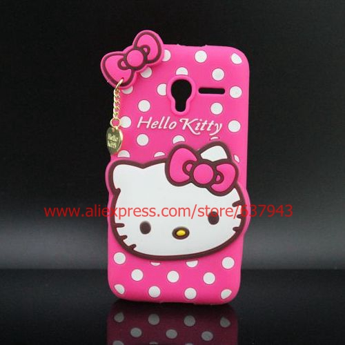 Cartoon Hello Kitty Soft Rubber Phone Case Cover For Alcatel One Touch Pixi 3 3.5 inch OT4009 / 4.0 inch OT4027(China (Mainland))