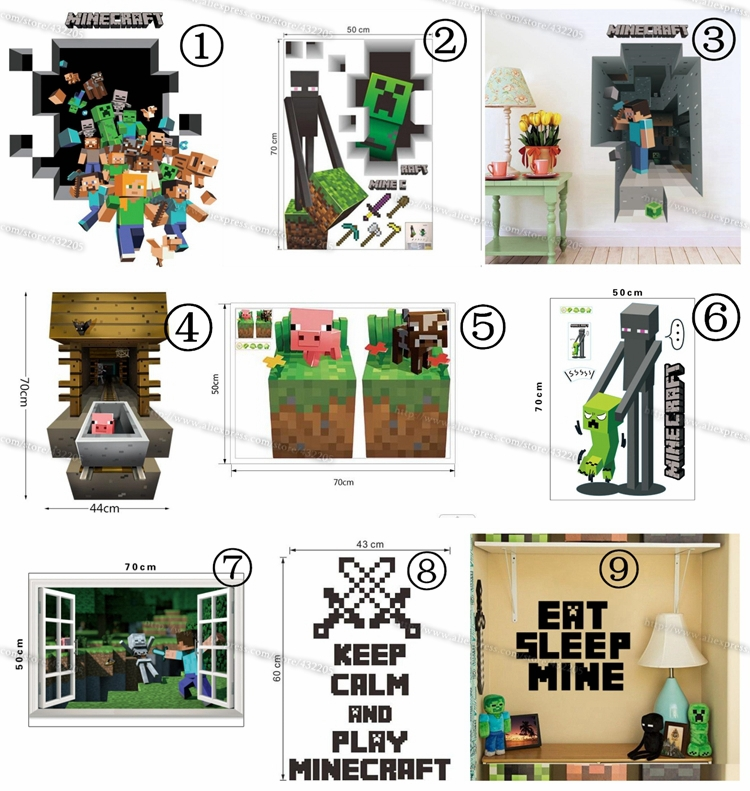 Buy minecraft wall stickers home decor for 3d home decoration games