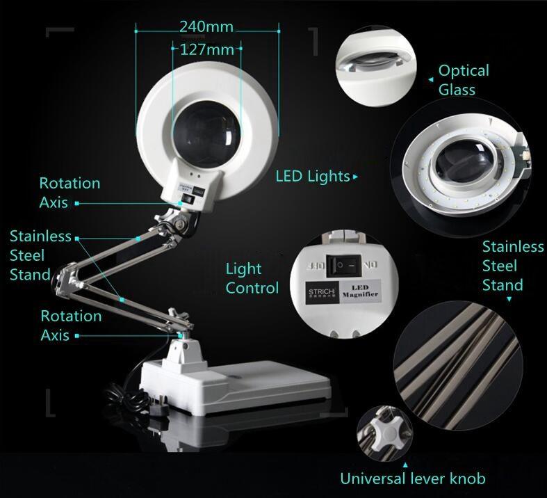 Купить 220 В 20X56 СВЕТОДИОДНОЙ Подсветкой Лампы Увеличительное Стекло Для Рабочего Нержавеющей Стали Стенд Лупа с Подсветкой для Чтения Рабочая