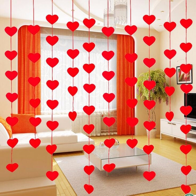 Red Love Heart Shape Curtain Valentine Hearts Ornaments Charm 300cm Rope Felt Non-woven For Home Wedding Party Valentine Decor(China (Mainland))