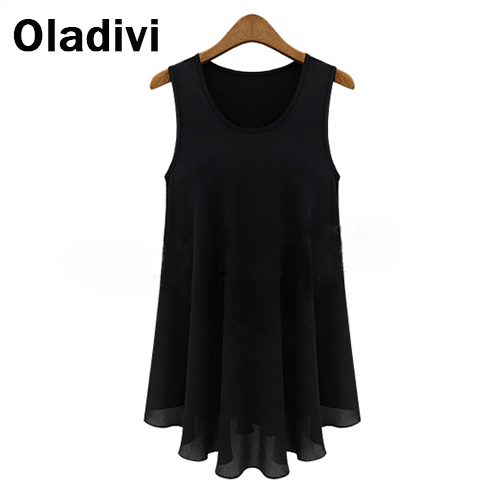 Fashion S XXL Summer 2015 Spring New Tops Tees Shirts Women Small Vest Tank Dress Chiffon Blouse Sleeveless Europe Style Clothes - Oladivi official store