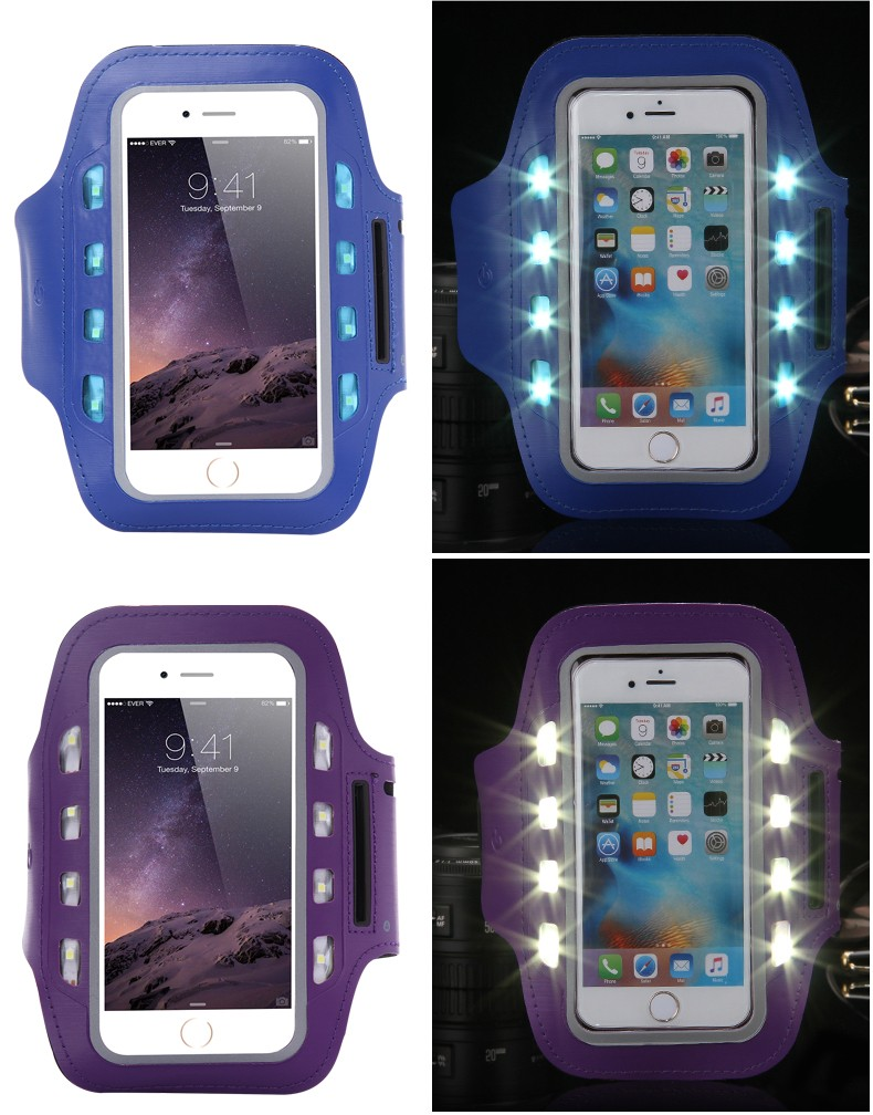 """New Arrival LED Light GYM Sport Running Arm Sports Armband Case for iPhone 6 Plus /6s Plus 5.5""""Arm Band Holder Brassard Running"""