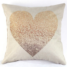 Loving Heart Style Design Linen Beige Invisible Cushion Case