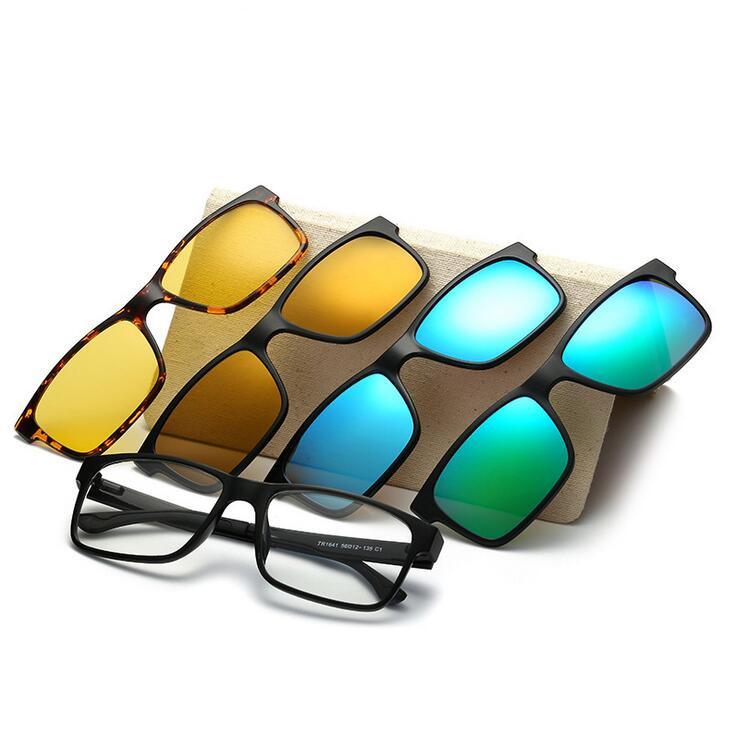 Include Frame Polarized Clip On Sunglasses Men TR90 Custom Prescription Glasses FrameMagnetic clips night glasses Drive Magnet(China (Mainland))