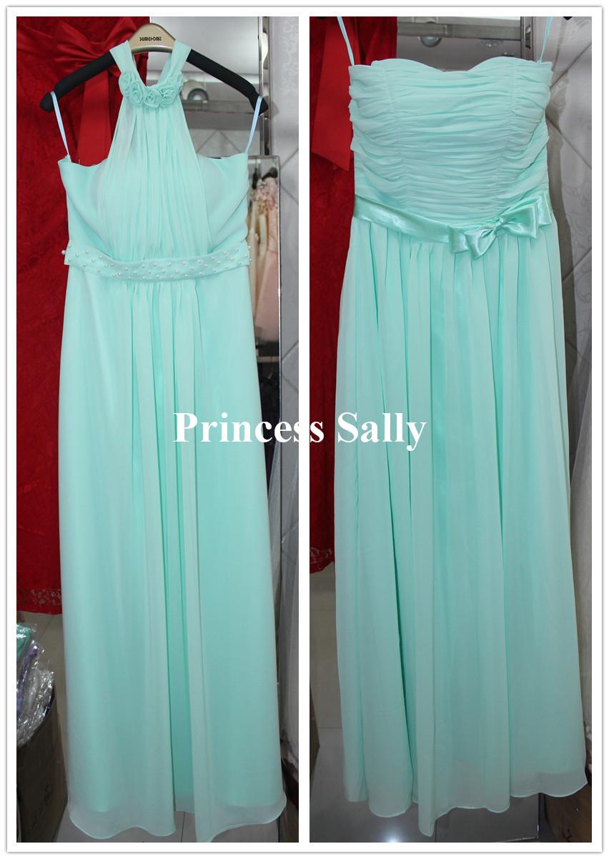 Pastel mint green bridesmaid dress chiffon real photos light blue bridesmaid dress champagne - Light blue and mint green ...
