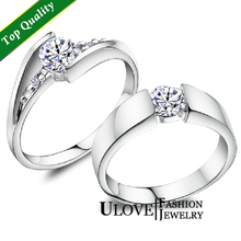 Hot Sale Price for 2pcs Wedding Couple Ring 925 Sterling Silver Silver Engagement Rings Zircon CZ Crystal Size 4.5-12 Weight 3g