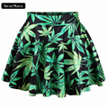 2016 Hot Sale Green Leaf Fashion Summer Style Easiness New Casual Women Pleated Skirts High Waist