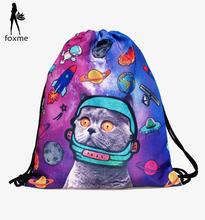 New fashion Practical Alien cat 3D printing women & man mochila feminina harajuku Travel drawstring bag High quality backpacks(China (Mainland))