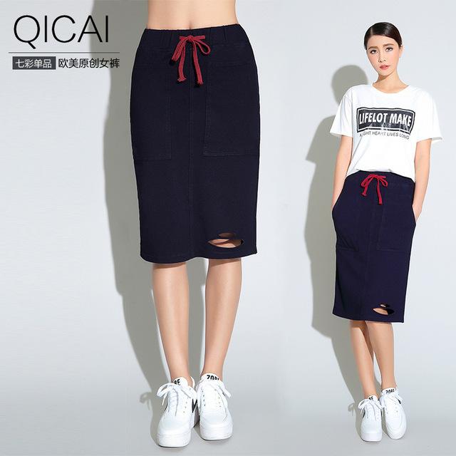Европейские и Американские женщины хлопок эластичный пояс юбки пакет бедра отверстие пакет бедра юбка летняя женщины диких Тонкий юбка