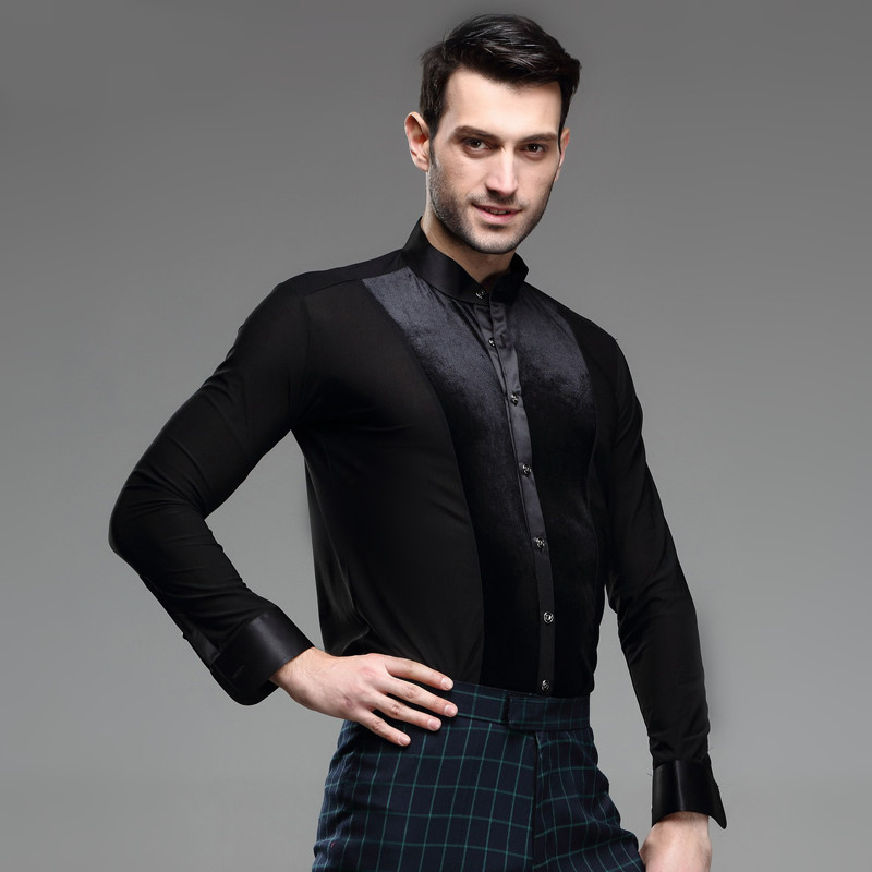 velvet mens latin shirts dance top mens ballroom dancewear men's latin dance costumes stage clothing for men ballroom clothes(China (Mainland))