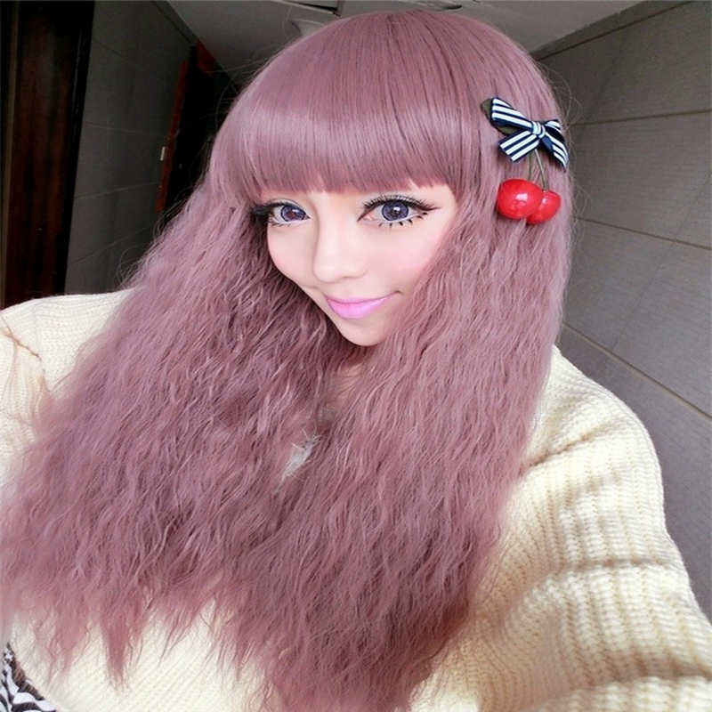 70CM Cosplay Party Wig Taro Color Corn Perm High Temperature Wire Wig Long Curly Synthetic Hair For Women Girls Good Quality(China (Mainland))
