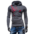 Mens Male Cool Fashion Hoodie Hooded Sweatshirt Long Sleeve Casual Scorpion Print Long Sleeve Slim Fitness