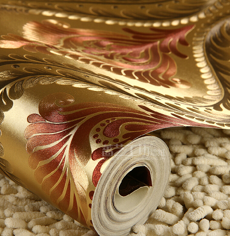 European luxury gold 3d wallpaper waterproof reflective for Luxury 3d wallpaper