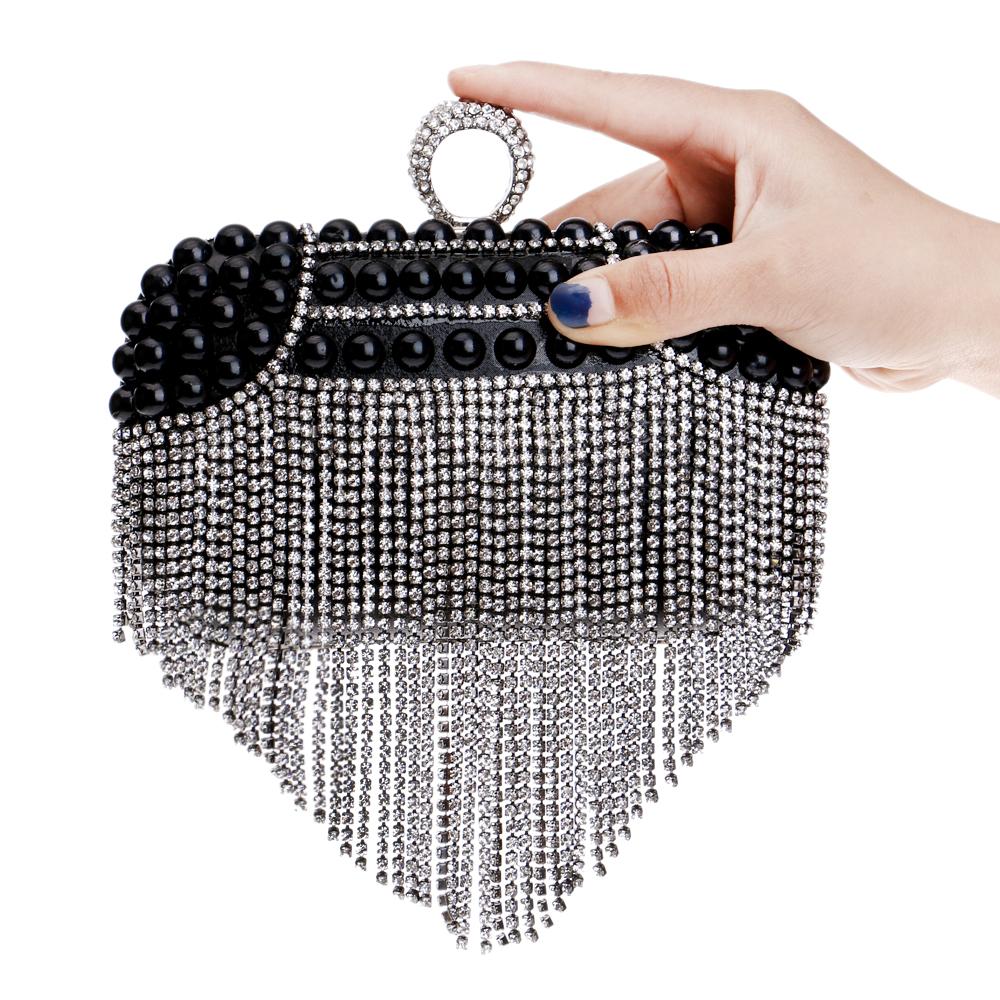 Rhinestones Tassel Women Evening Bags Beaded Wedding Small Purse Handbags Silver/Gold/Black Diamonds Evening Bag(China (Mainland))