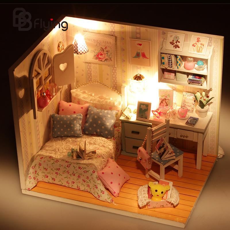 Kits DIY Wood Handmade Dollhouse Bed Miniature With LED+Furniture+cover Gift<br><br>Aliexpress