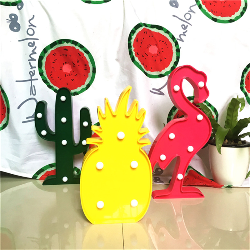 3D Tropical LED Flamingo Pineapple Cactus Light Romantic Night Lamp Table Lamp Home Christmas Party Decor(China (Mainland))
