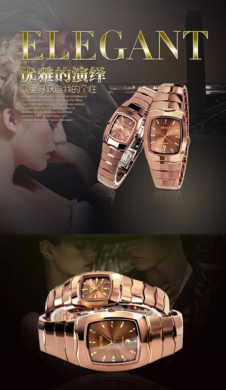 Марка MSTRE 1 пара стали вольфрама мода роскошные свободного покроя влюбленных кварца алмазный мужчины и женщины наручные часы сапфир календарь