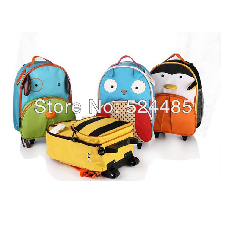 Six Designs Canvas Cartoon Animal Children Bags Trolley luggage Kid Backpack Travel Bag Y005 - William Bush's store