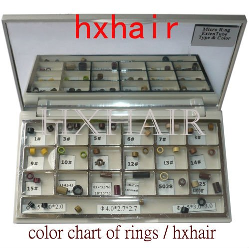Freeshipping - 10pcs Color Chart of Rings / Micro Ring Links / Pre-Bonded I-Tip Hair Extension Tools