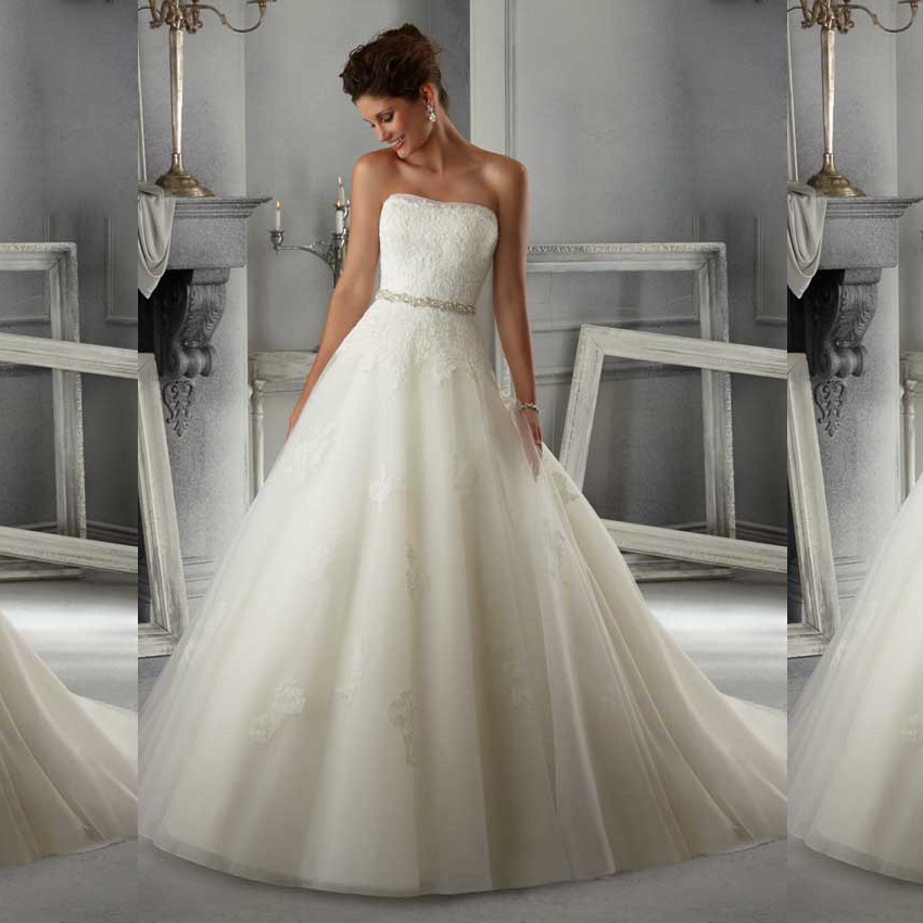 2015 gorgeous strapless organza ball gown wedding dress for Long strapless wedding dresses