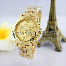 2015 nuevo llega la moda de lujo a estrenar Unisex reloj de cuarzo ocasional ginebra oro romana Dial mujeres reloj montre relogio