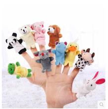10 pcs =1lot Cartoon Biological Animal Finger Puppet Plush Toys Child Baby Favor Dolls For Children(China (Mainland))