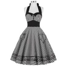 Women Dress Plus Size Summer Clothing 2016 Retro Swing Short Gown robe Pin up Plaid Vintage 60s 50s Rockabilly Dresses vestidos(China (Mainland))