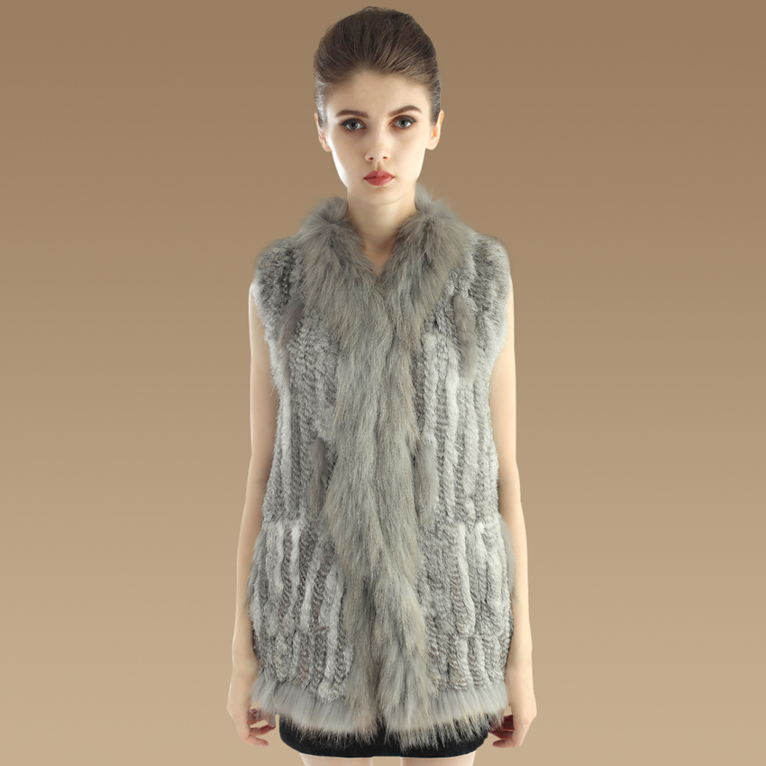 New Style Winter Vest Waistcoat For Women Handmade Knitted Natural Rabbit Fur Vests With Raccoon Dog Fur Collar YC1059