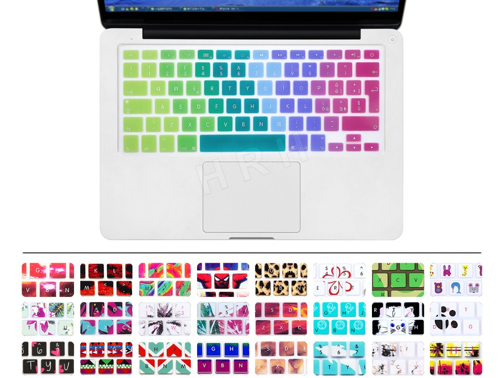 Rainbow Silicone keyboard cover for Apple macbook Air Pro Retina 13 15 17 Protective Stickers for mac book laptop Skin Film US(China (Mainland))