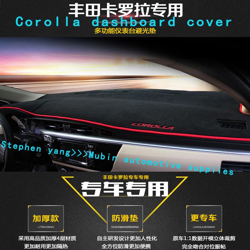 Car Dashboard Pad Instrument Platform Desk Avoid Light Mats Sticker Interior Car Accessory For Toyota Corolla 2008 2014(China (Mainland))