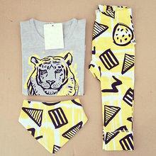 2016 Summer Baby clothing Girls Boys Tops T-shirt + Pants + Bib 3pcs Outfits Set