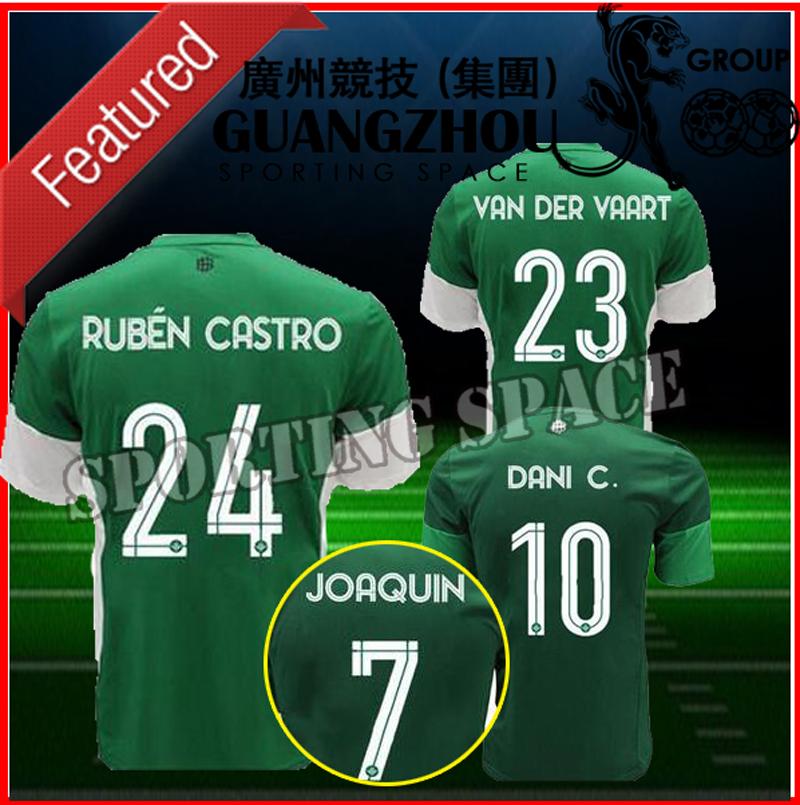 Ricky van Wolfswinkel home shirts 15 16 Dani Ceballos Alfred N'Diaye Rafael van der Vaart Didier Digard 2016 away green shirts(China (Mainland))