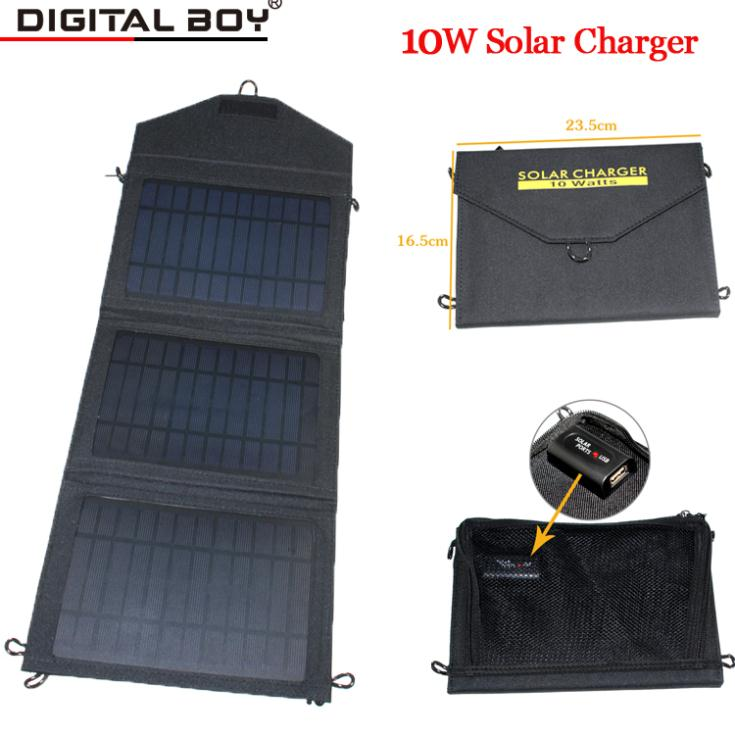 New Foldable solar charger 10w 1650mAh outdoor portable solar panel charger usb battery charging for phone Power Bank computer