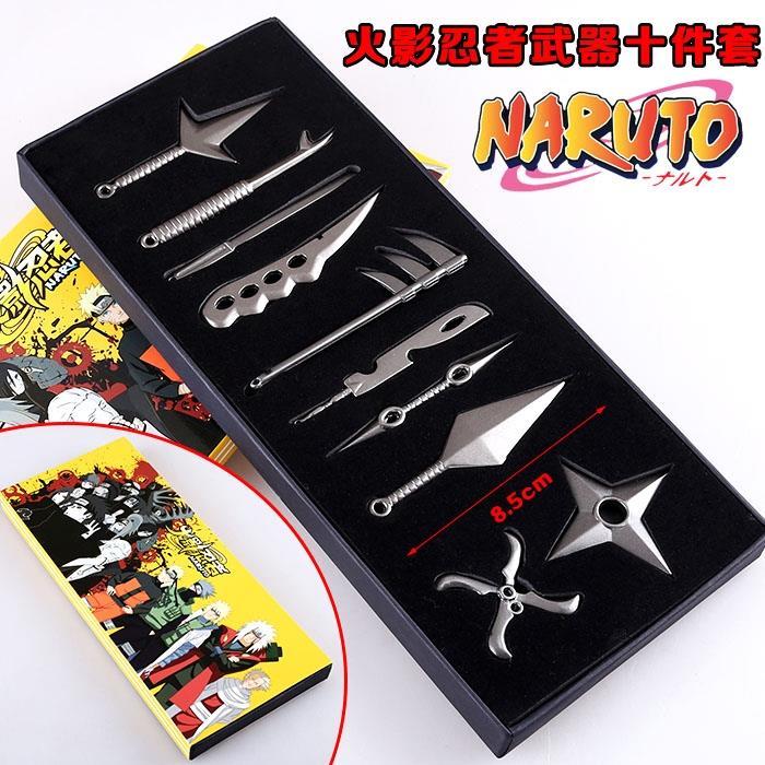 10Pcs/Set Naruto Sasuke Sword Zabuza Hidan Asuma Mini Weapon Japan Cosplay Metal Props Naruto Minato Namikaze Yondaime Kunai #D